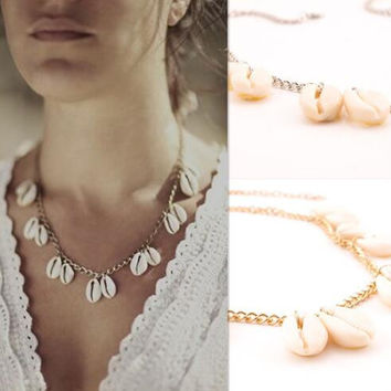 Fashion Womens Handmade Necklace Shell Choker +Gift Box