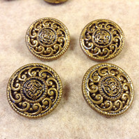 """9 Vintage Coat Metal Buttons - from an old wool coat dated to the 1970's - 15/16"""" Diameter - All Metal"""
