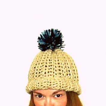 Sand + Sky. Wild Earth Tones Pom Pom Hat. Super Chunky Unisex Fun For Everyone