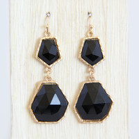 Black Abstract Shape Earrings - Earrings