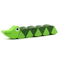 New Wooden Crocodile Caterpillars Educationa Baby Toy