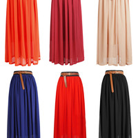 1pc Women Double Layer Chiffon pleated Retro Long Elastic Waist Maxi Dress Skirt