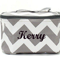 Grey Chevron Monogrammed Cosmetic Bag  Chevron Cosmetic Bag  Monogrammed Makeup Bag