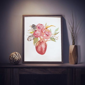 Watercolor Wall Art Printable Floral Human Heart Print Anatomical Heart Home Decor Watercolor Art Morbid Room decor Instant Digital Download