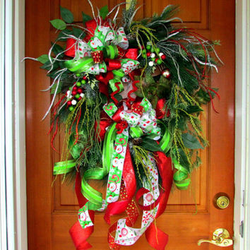 Sale! Was 95. Christmas wreath, Christmas swag, holiday wreath swag, elegant wreath, Designer Christmas wreath, woodland wreath, red lime