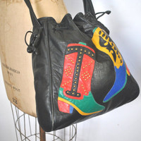 BOOT Bucket Bag Drawstring / Southwestern Black Leather Purse