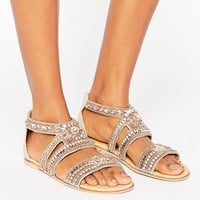 River Island Embellished Flat Sandals at asos.com