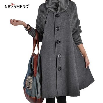 2017 Autumn Winter New Korean High Quality Women Coats Long Loose Woolen Coat Cloak A-Line Wool Coat for Women