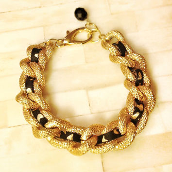 Chunky Chain Bracelet 18K Gold Plated Leather Wrap Faux Pave Textured Thick Statement Michael Kors Marc Jacobs Celebrity Inspired