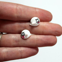 Mario Boo Earrings, Titanium Hypoallergenic Gamer Jewelry, Hand Painted Geek Stud Earrings