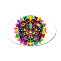 AZTEC WARRIOR MASK RAINBOW COLORS WALL DECAL