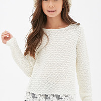 FOREVER 21 GIRLS Lace-Trimmed Open-Knit Sweater (Kids) Cream/Cream