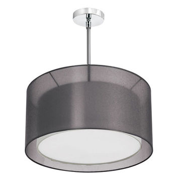 Dainolite MEL228-815-790-SC Melissa Three-Light Satin Chrome Pendant w/ a Black and White Double Shade and a Diffuser