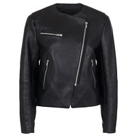 Buy French Connection Northern Leather Collarless Jacket, Black | John Lewis