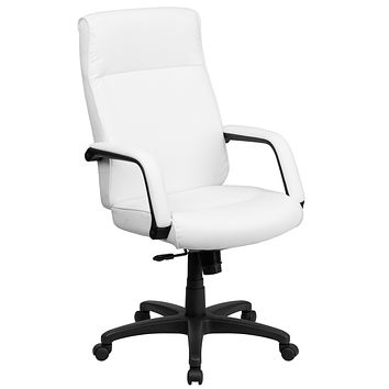 High Back Leather Executive Swivel Office Chair with Memory Foam Padding
