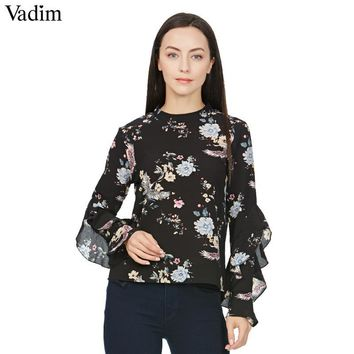 Women sweet butterfly sleeve floral print shirt vintage stand collar loose blouses female casual retro brand tops blusas LT1545