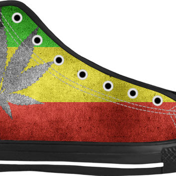 420 silver ganja pattern black high top sneakers, three color flag, Rastafari shoes