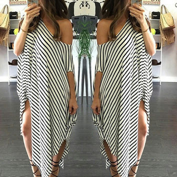 Stripes Strapless Sexy Irregular One Piece Dress [4970283268]