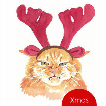 Christmas Card - Cat Watercolor Painting, Orange Tabby, Holiday Card, Funny Card