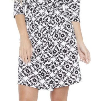 Mariah Batik Print Wrap Dress Short Cover Up 3/4 Sleeves