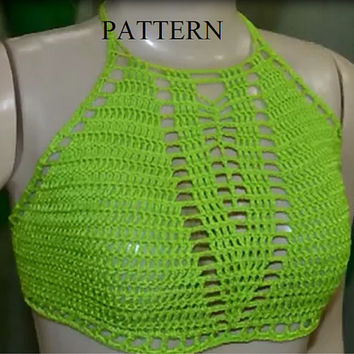 Crochet Bikini Pattern Bikini top PDF Crochet Pattern. Halter bikini top with net. Easy level pattern. Bustier Pattern, Crochet Pattern 1.1