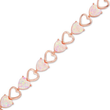 6.0mm Heart-Shaped Lab-Created Pink Opal Bracelet in Sterling Silver with 18K Rose Gold Plate - 7.25"