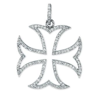 14k White Gold and Diamond Maltese Cross Pendant