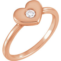 Dainty Diamond Ring   Heart Ring   Romantic Jewelry Gifts   Solid 14k Rose Gold Ring   Heart Jewelry   Valentines Day Gifts for Her   Size 7