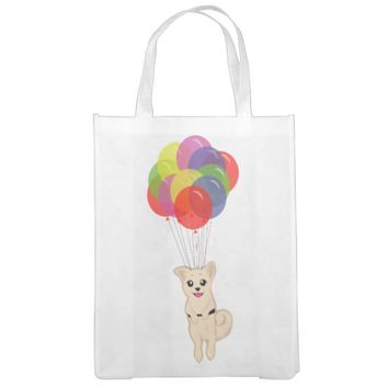 Puppy with Balloons Reusable Grocery Bags