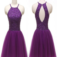Short Homecoming Dress , Tulle Homecoming Dress with beads ,Halter Homecoming Dress,Cheap Homecoming Dress
