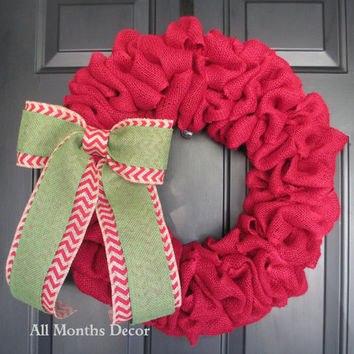 Red Burlap Wreath with Green over Red Chevron Burlap Bow, Rustic Country Decor, Fall Winter Christmas Holiday Year Round, Fall, Porch Door