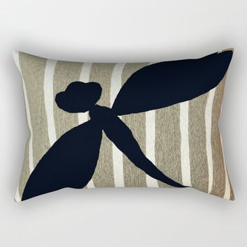 Vintage Zebra Stripe Dragonfly Silhouette Rectangular Pillow by artbytinavaughn