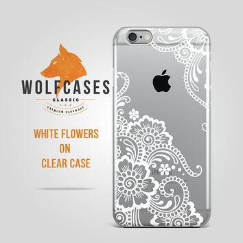 Clear Case White Flowers Contour Mandala Pattern on Ultra Thin Clear Case for iPhone 6 6s Plus Samsung S4 Galaxy S5 S6 Note iPod 075
