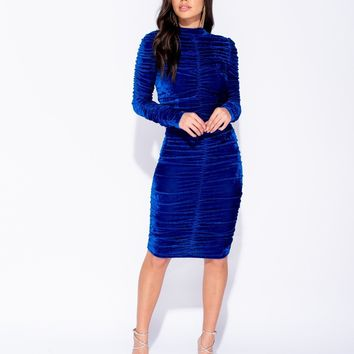 Velvet Ruched Detail Bodycon Midi Dress