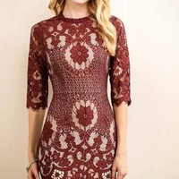 Split Personalities Lace Dress - Burgundy