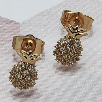 Gold Layered Women Pineapple Stud Earring, with White Cubic Zirconia, by Folks Jewelry