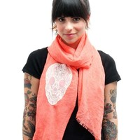"""Lace Skull"" Scarf (Coral)"