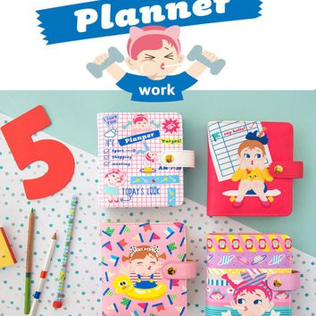 Korean Kawaii Cute Candy Personal School Dairy Organizer Plan Weekly Planner Gold Ring Binder Notebook Agenda Planner A6 2017