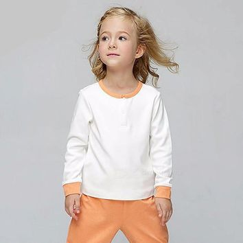 G100 Casual Bamboo Fiber Cotton Stitching Color T-Shirt, Unisex Long Sleeve Round Neck Tee Tops For Kids Children Sky Blue/2T
