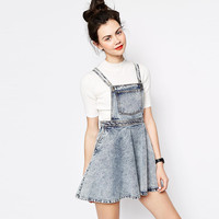 Blue Chest Patch Pocket Suspenders  A-Line Swing Mini Dress