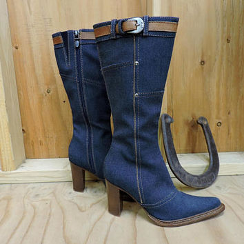 Denim boots 5.5  EU 36 / Donald J Pliner boots / denim cowboy boots / tall denim boots