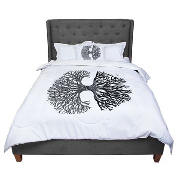 "Adriana De Leon ""The Tree of Life"" Black White Comforter"