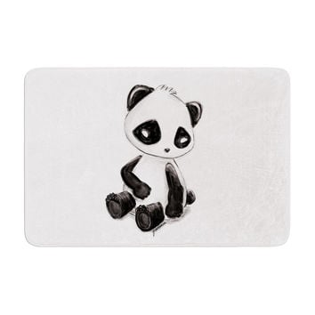 "Geordanna Cordero-Fields ""My Panda Sketch"" Black White Memory Foam Bath Mat"