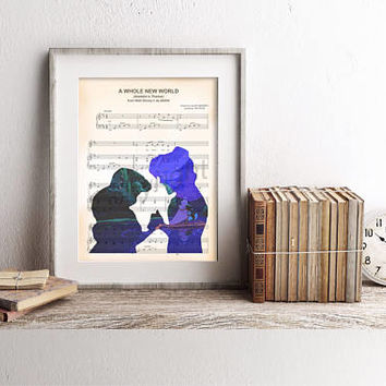 Aladdin and Jasmine Sheet Music Art Print