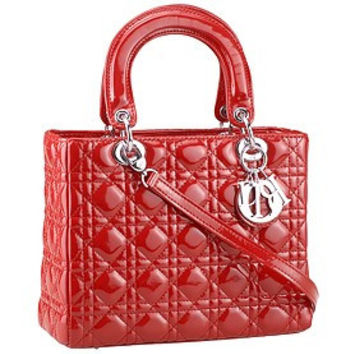 Dior Small Lady Cannage Bag Patent Leather Red