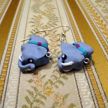 Elephant earrings made from polymer clay by NellinShoppi on Etsy