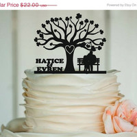 fall sale Custom Wedding Cake Topper - Personalized Monogram Cake Topper - Mr and Mrs - Cake Decor - Bride and Groom - rustic - family tree