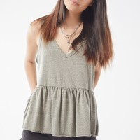 Truly Madly Deeply V-Neck Peplum Tank Top | Urban Outfitters
