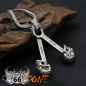 Real .925 Sterling Silver & 24k Gold Skull Engine Block Necklace with Serpentine Chain