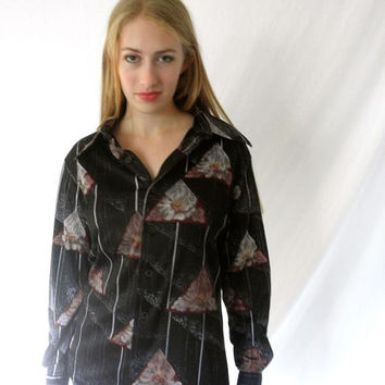 Studio One 70s Disco Pimp Nylon Mens Shirt Hip Trippy Print Black Gray Floral Triangles Size Medium
